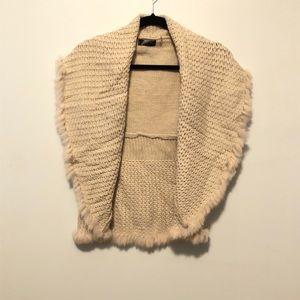 Love Token Rabbit Fur Fringe Knit Vest Cream Small
